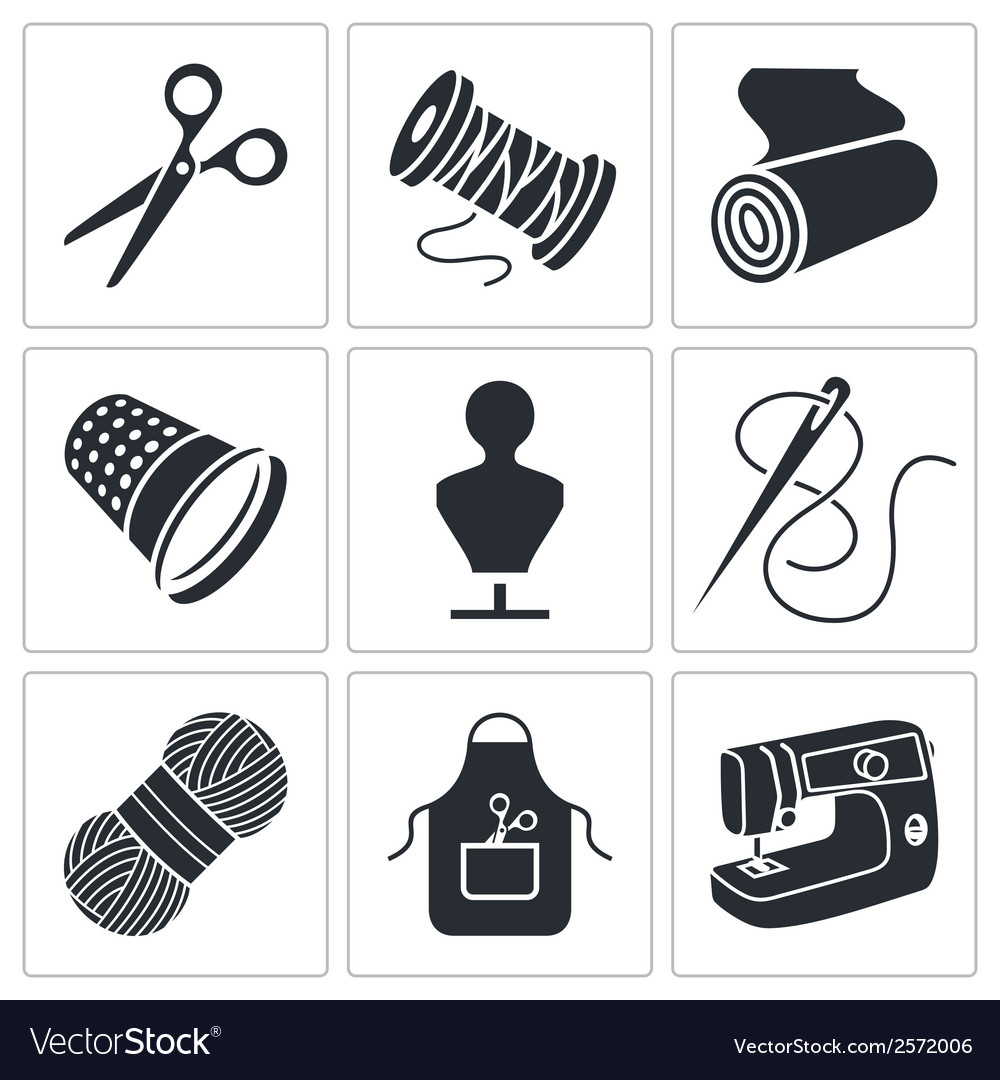Sewing clothing manufacture icons set vector | Price: 1 Credit (USD $1)