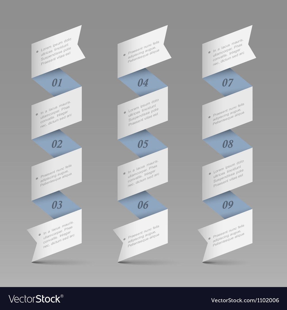 Trendy vertical origami paper numbered banners vector | Price: 1 Credit (USD $1)