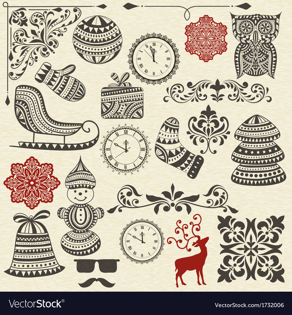 Vintage holiday design elements vector | Price: 1 Credit (USD $1)