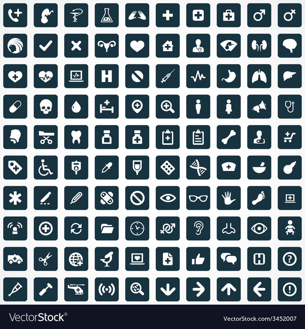 100 medical icons vector | Price: 1 Credit (USD $1)