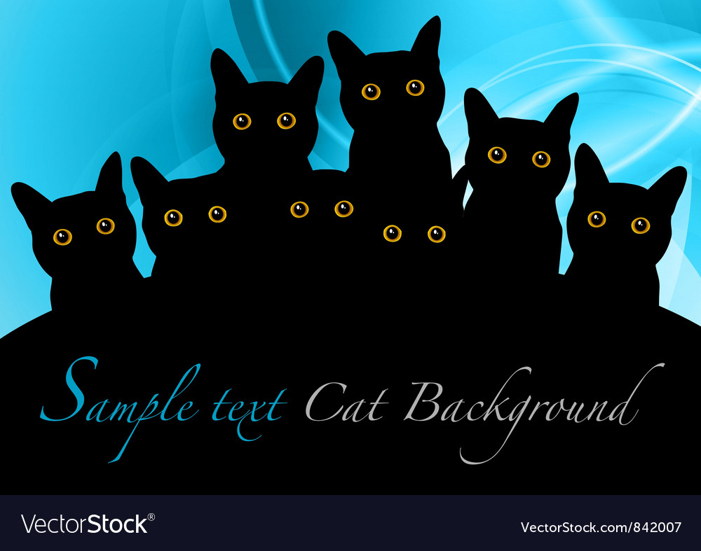 Cat black background blue vector | Price: 1 Credit (USD $1)