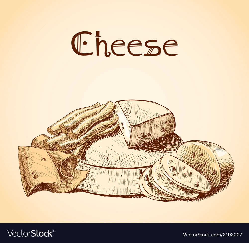 Cheese sketch poster vector | Price: 1 Credit (USD $1)