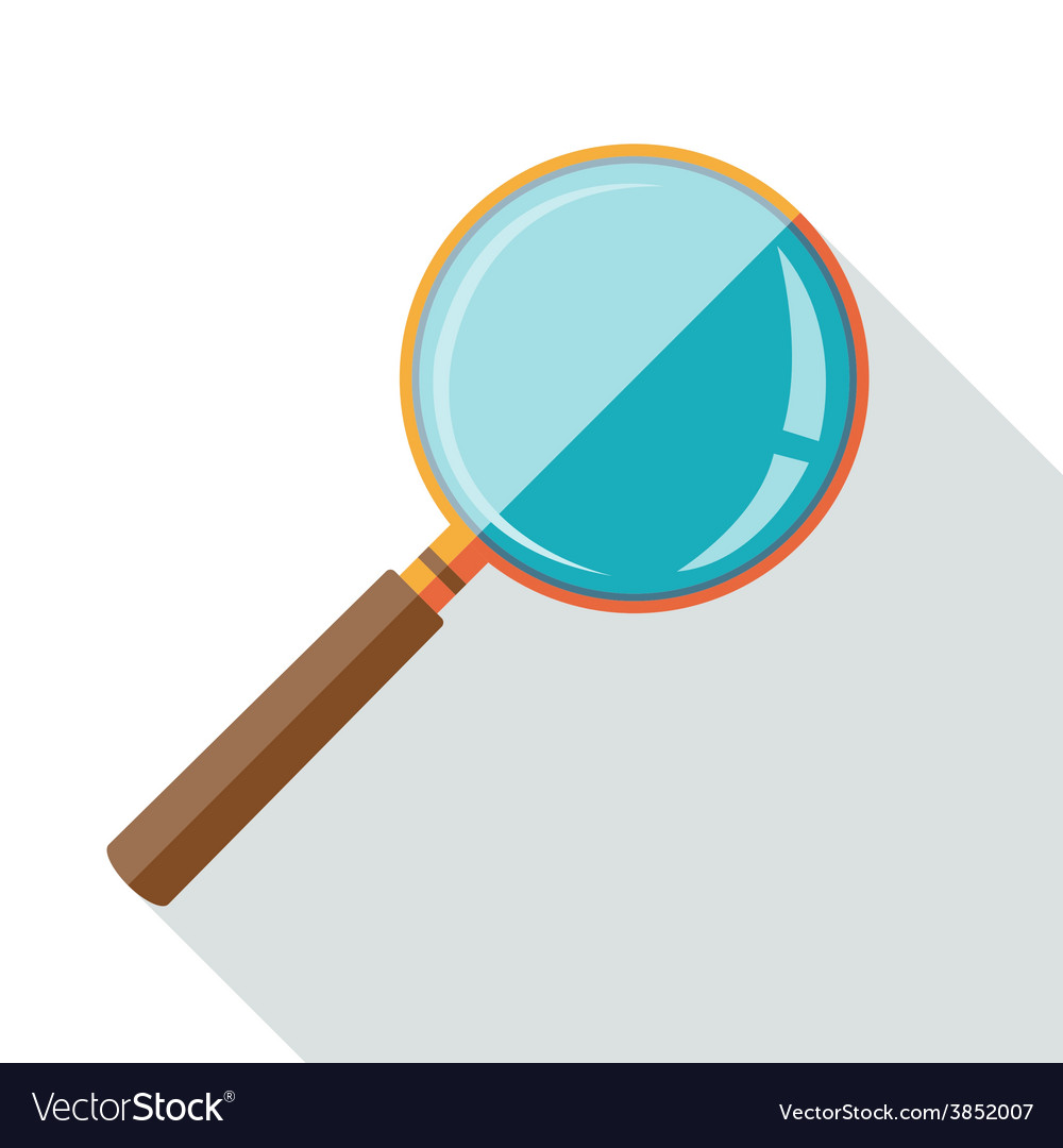 Flat design icon of magnifying glass with long vector | Price: 1 Credit (USD $1)