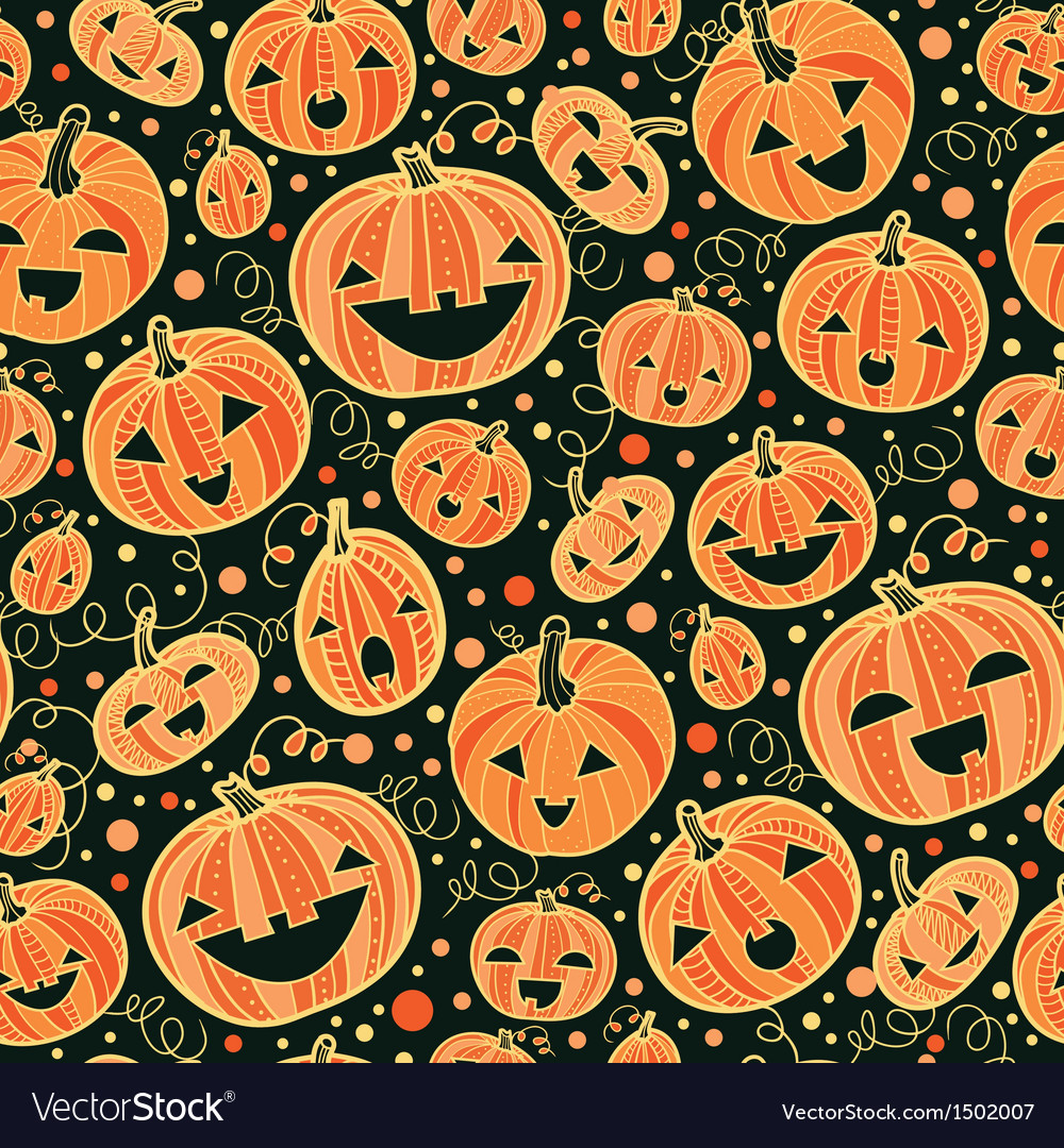 Halloween pumpkins seamless pattern background vector | Price: 1 Credit (USD $1)