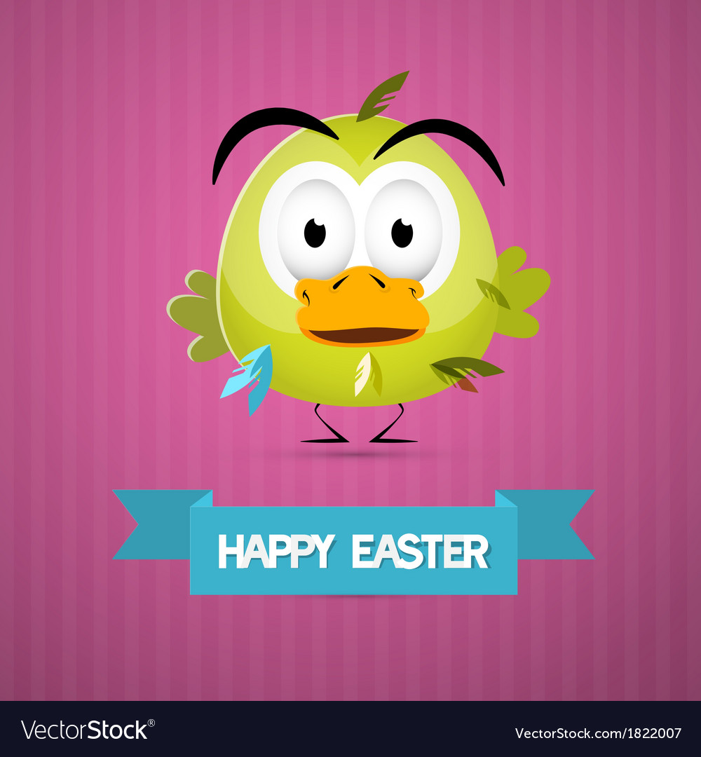 Happy easter retro pink background with funny vector | Price: 1 Credit (USD $1)