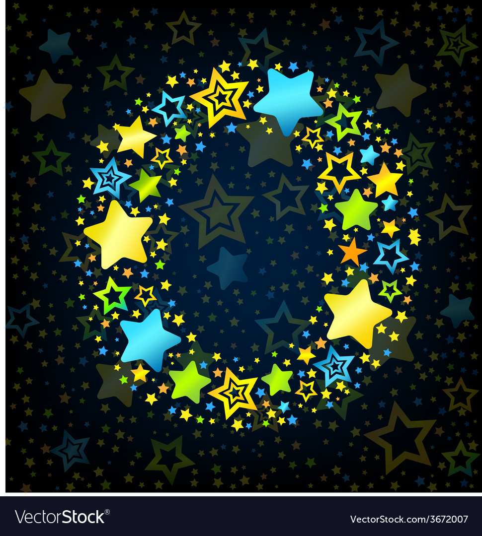 Letter o cartoon star colored vector | Price: 1 Credit (USD $1)