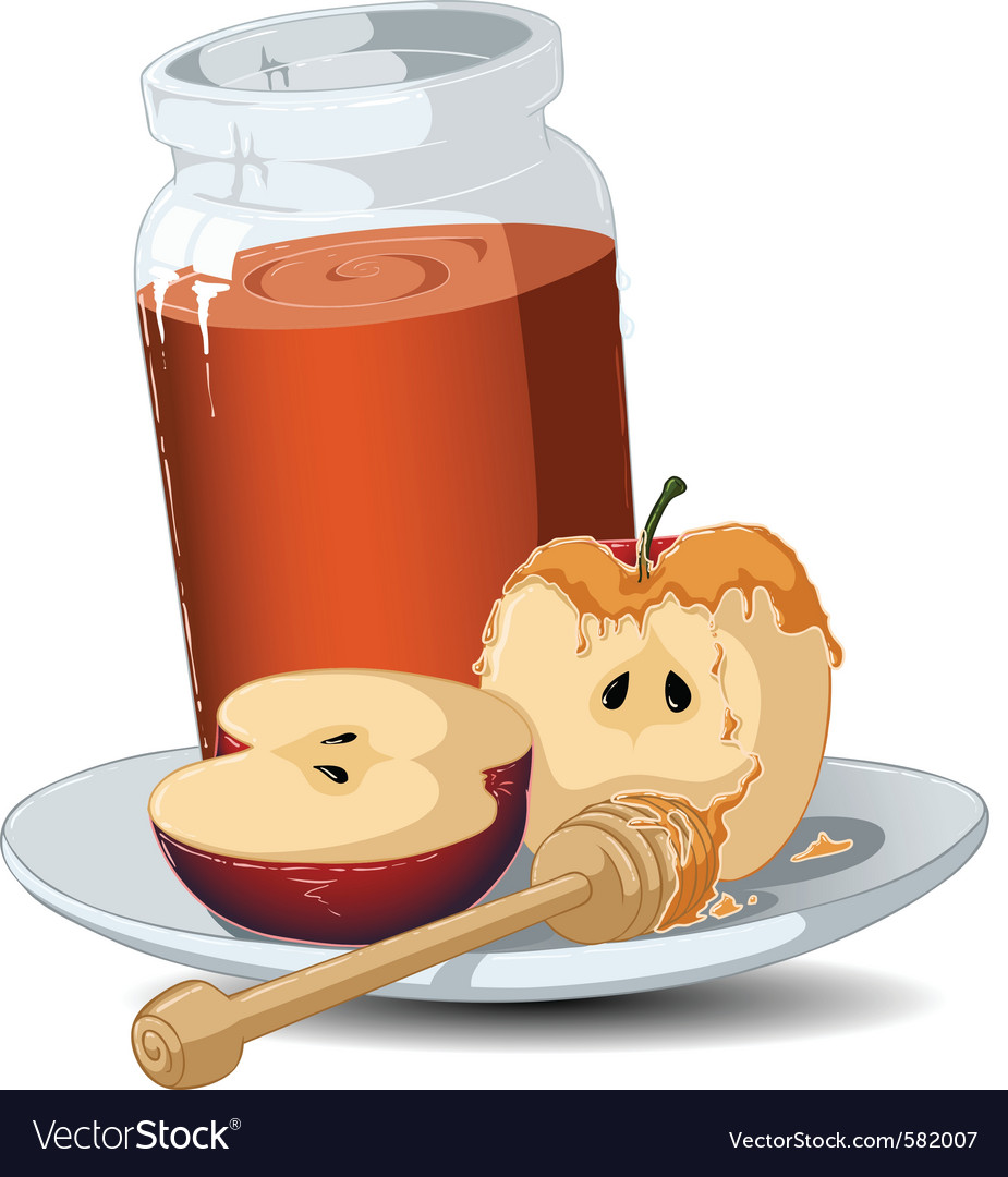 Rosh hashanah honey jar and apples vector | Price: 3 Credit (USD $3)