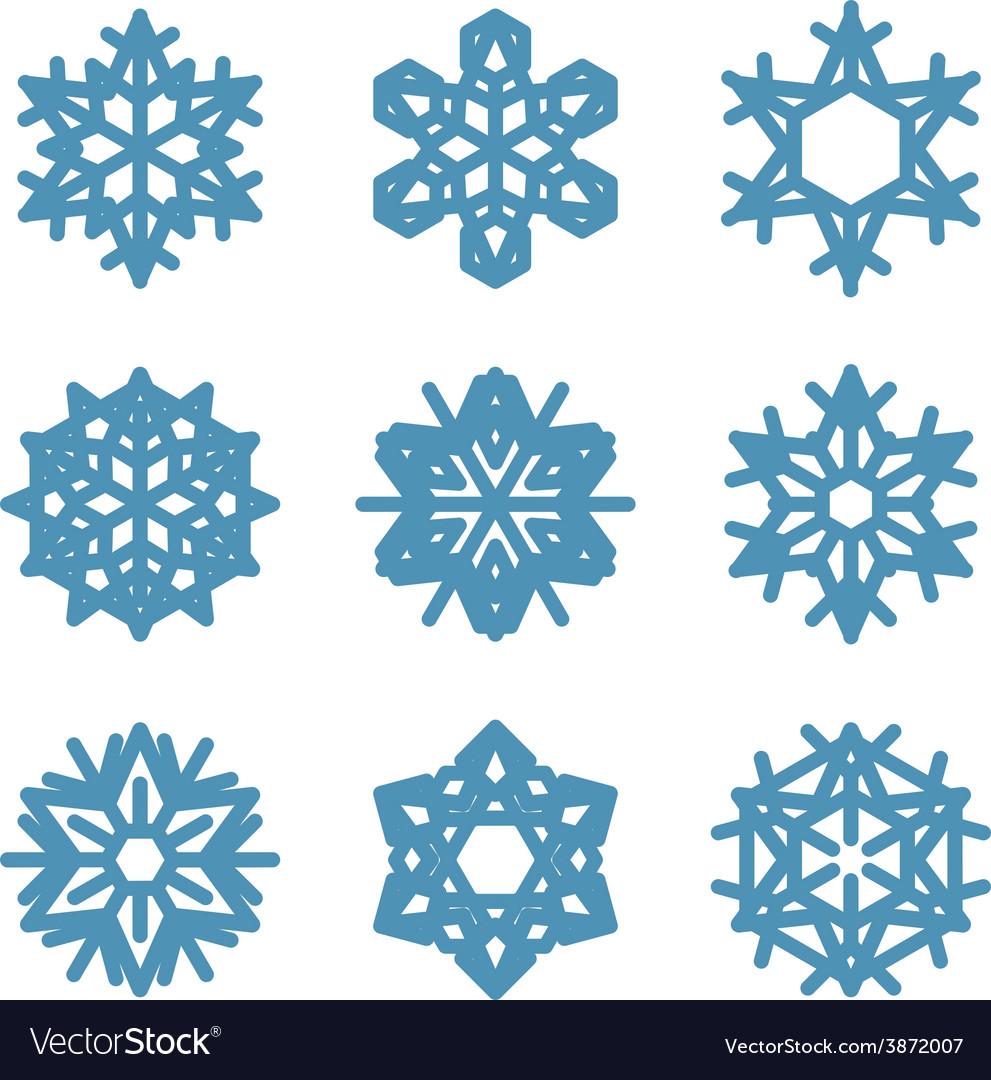 Set of nine snowflakes thin line ftat design vector | Price: 1 Credit (USD $1)