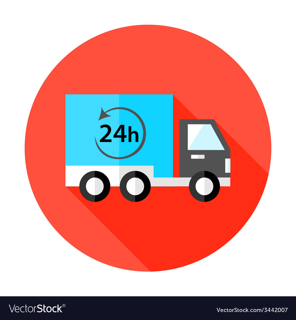 Truck 24 hour shipping flat circle icon vector | Price: 1 Credit (USD $1)