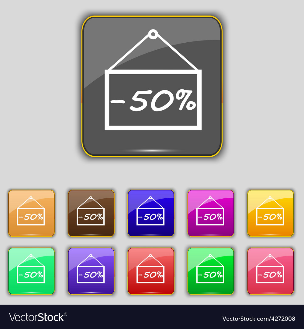 50 discount icon sign set with eleven colored vector | Price: 1 Credit (USD $1)