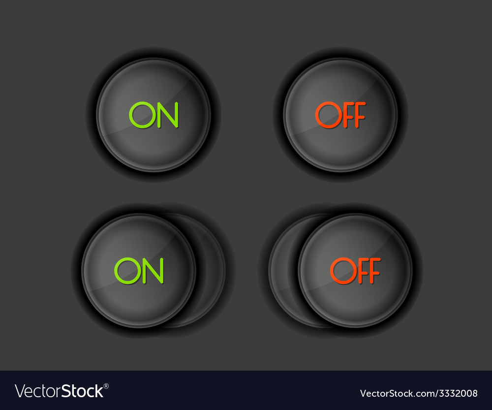 Buttons with on and off text vector | Price: 1 Credit (USD $1)
