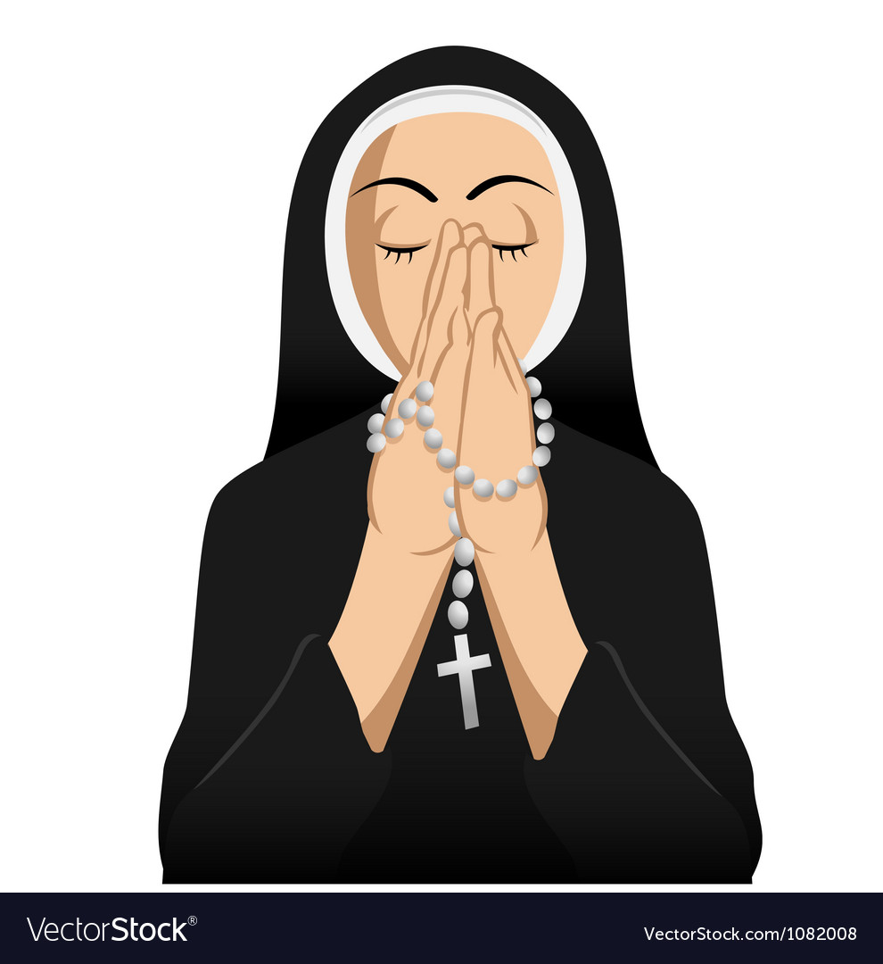 Catholic nun praying vector | Price: 3 Credit (USD $3)