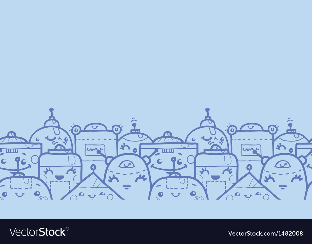 Cute doodle robots horizontal seamless pattern vector | Price: 1 Credit (USD $1)