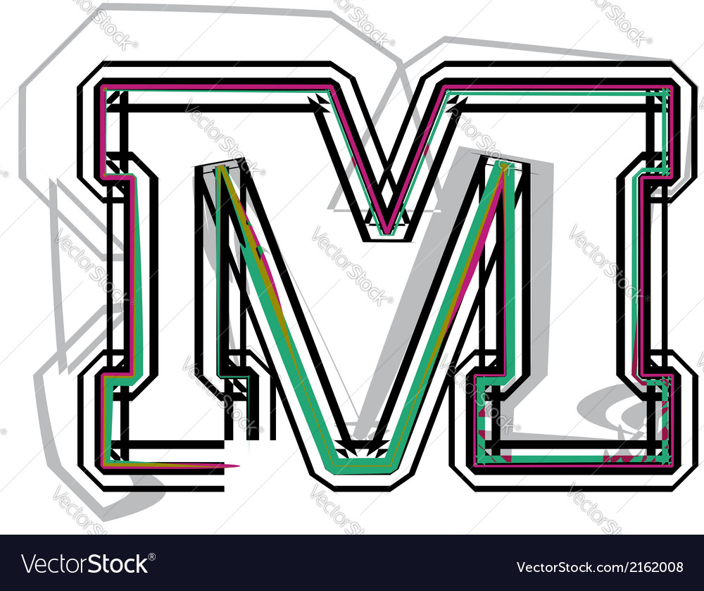 Font letter m vector | Price: 1 Credit (USD $1)