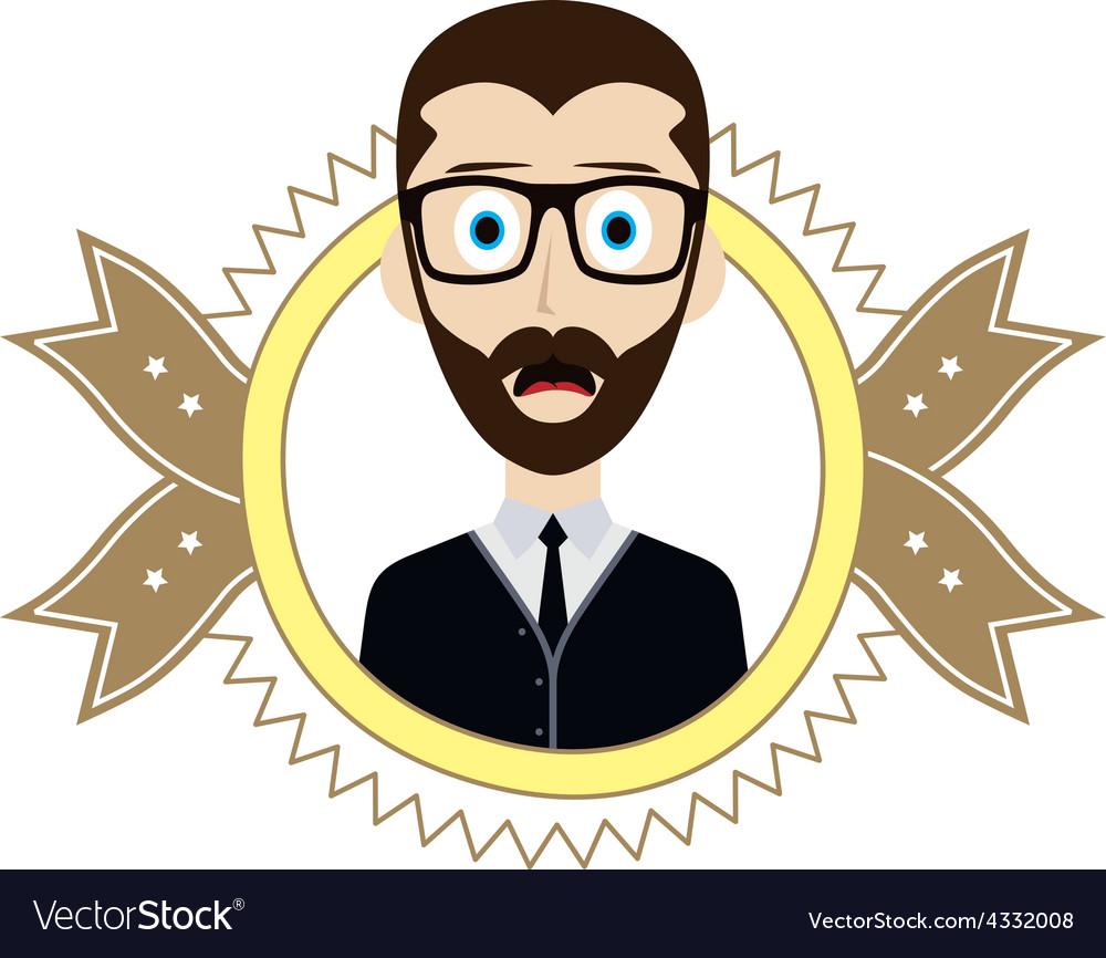 Geek retro guy vector