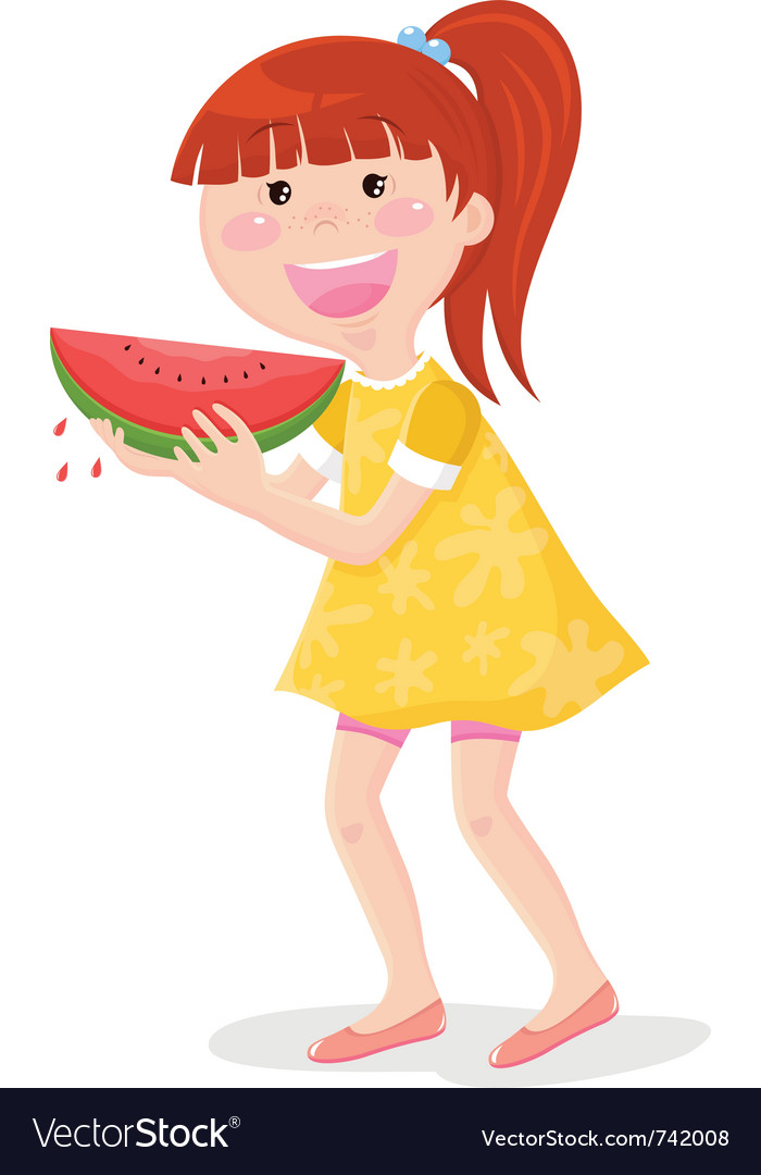 Girl eating watermelon vector | Price: 3 Credit (USD $3)
