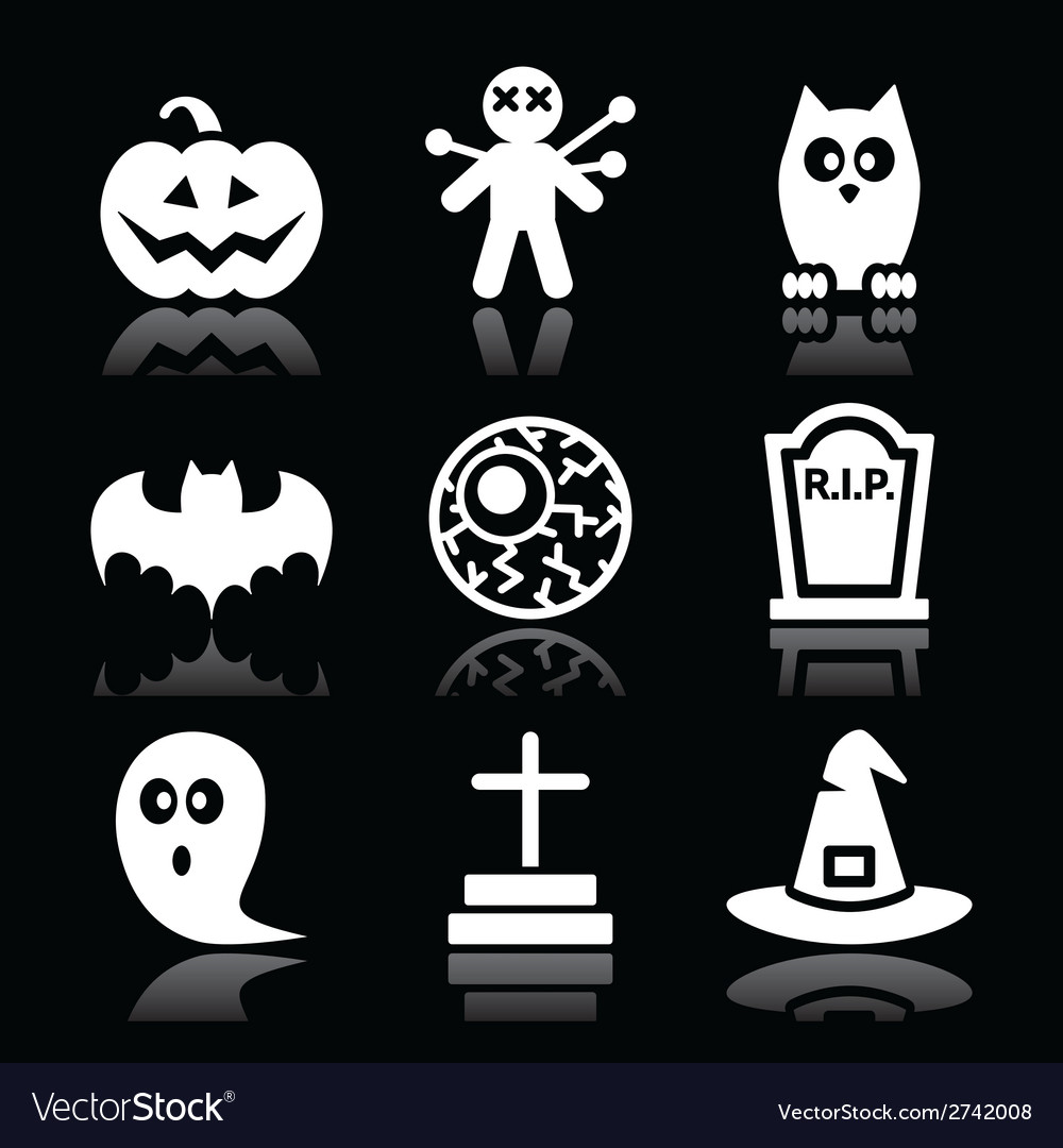 Halloween black icons set - pumpkin witch ghost vector | Price: 1 Credit (USD $1)