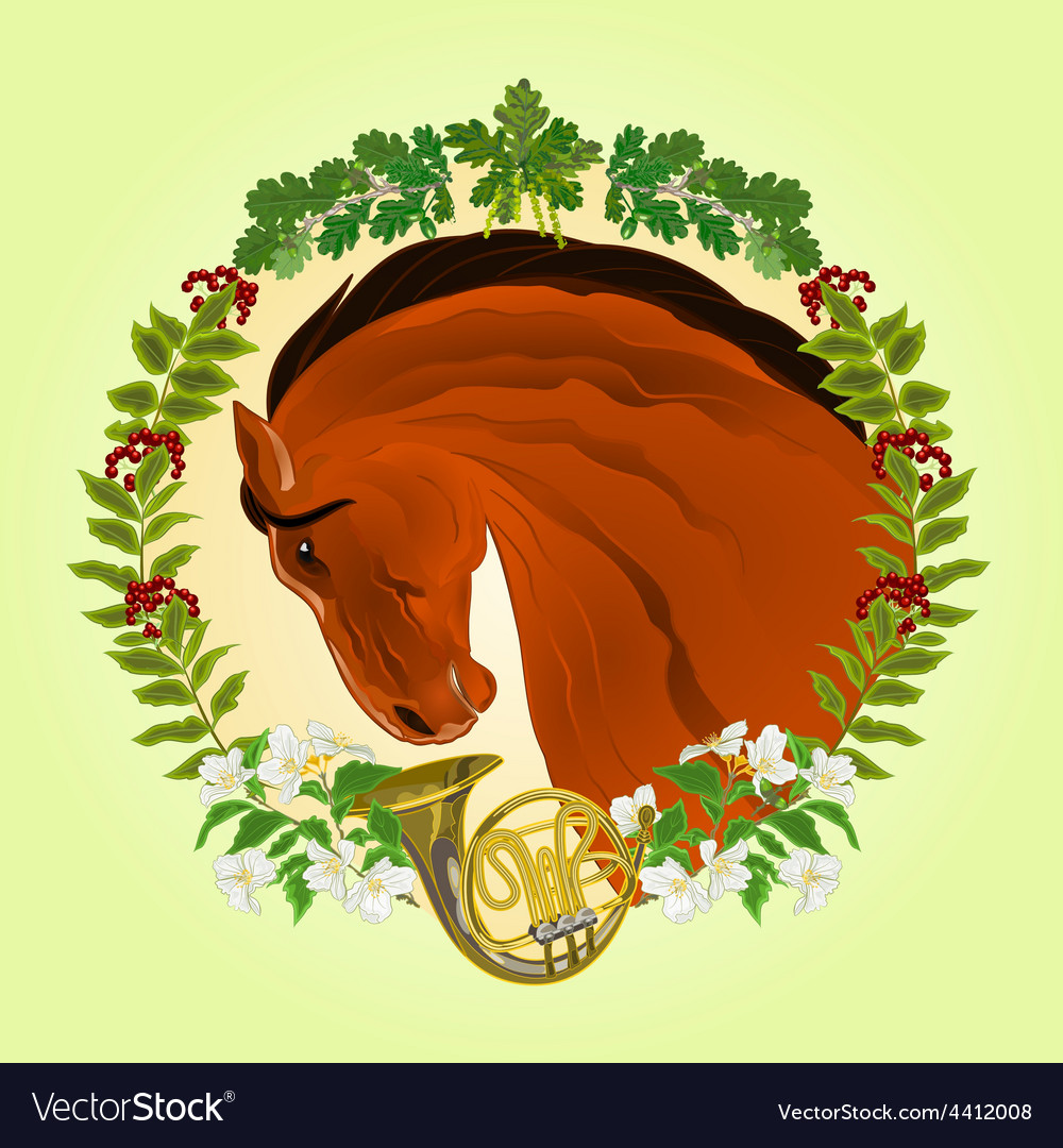 The head brown horse leaves and french horn vector | Price: 1 Credit (USD $1)