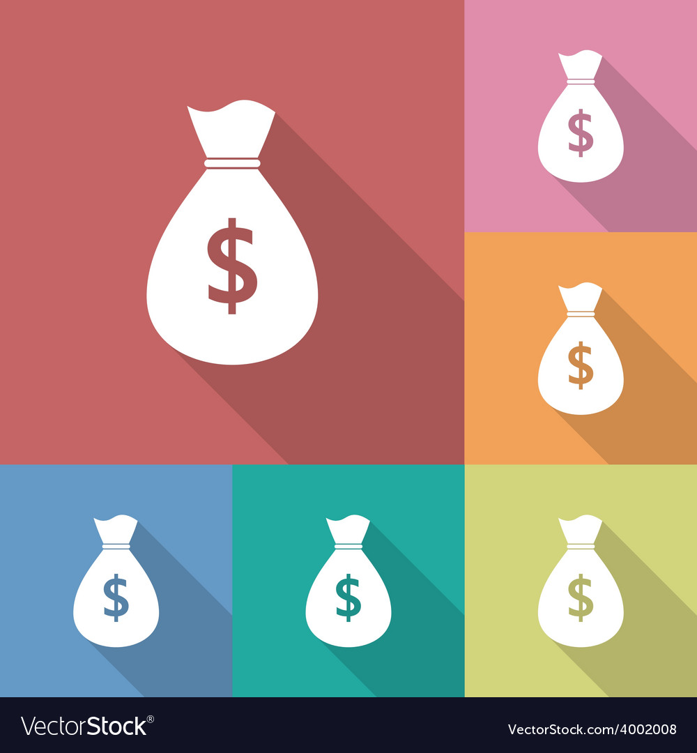 Icon of money bag with a dollar sign vector | Price: 1 Credit (USD $1)