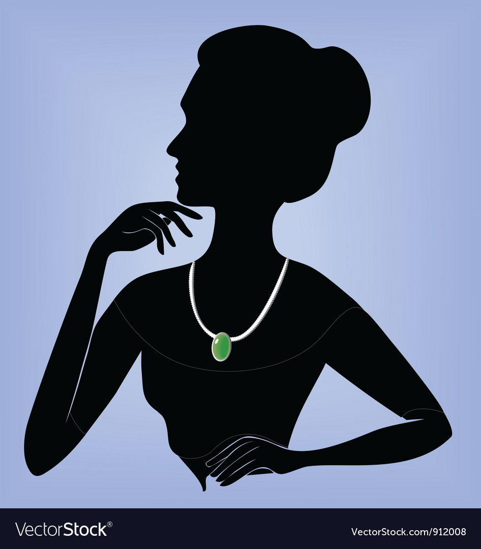 Lady in the necklace vector | Price: 1 Credit (USD $1)