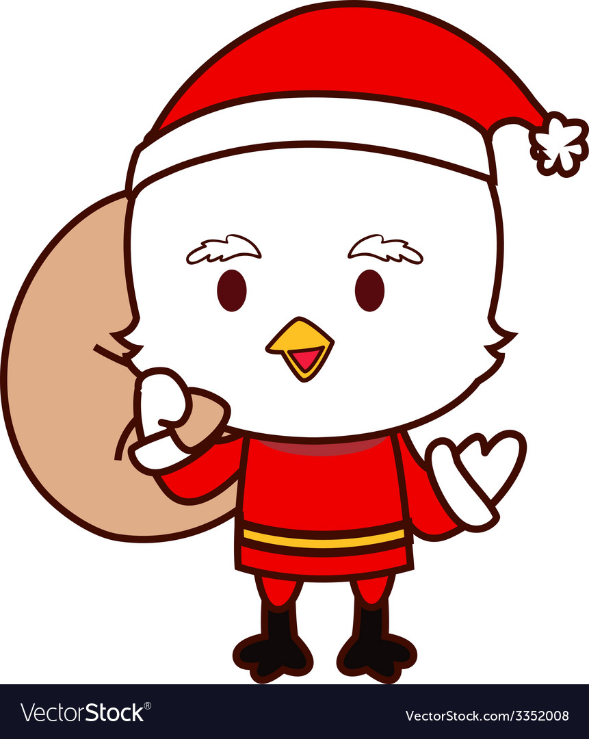 Little chicken santa vector | Price: 1 Credit (USD $1)