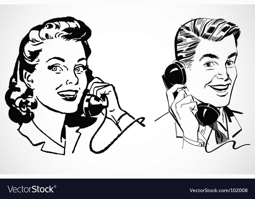 Retro phone conversation vector | Price: 1 Credit (USD $1)