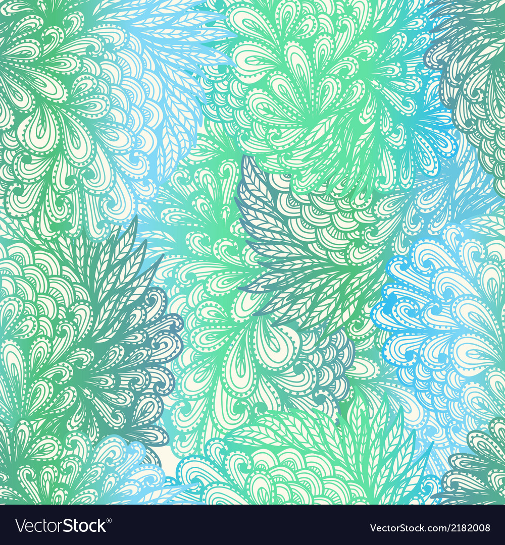 Seamless floral gradient doodle patte vector | Price: 1 Credit (USD $1)