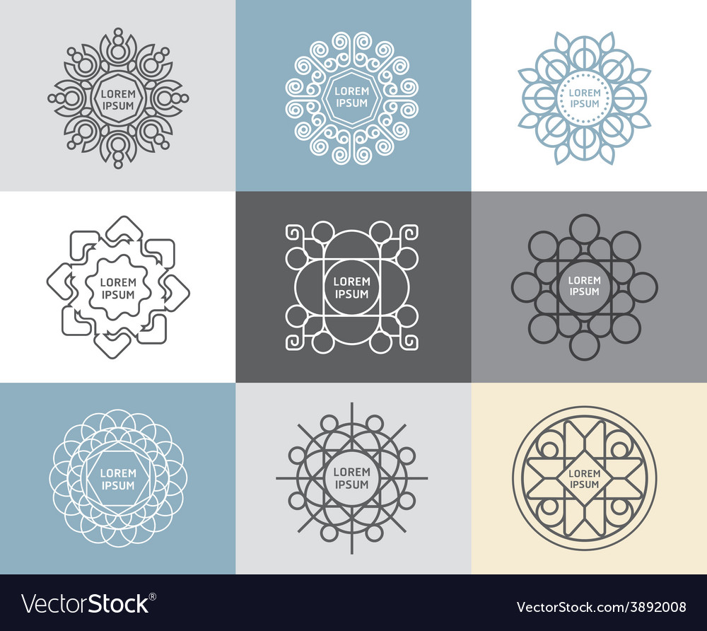 Set of calligraphicflower abstract templates vector | Price: 1 Credit (USD $1)