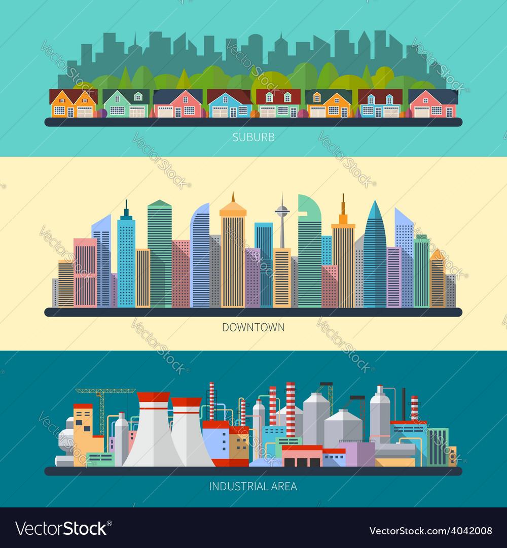 Set of flat design urban landscape vector | Price: 1 Credit (USD $1)