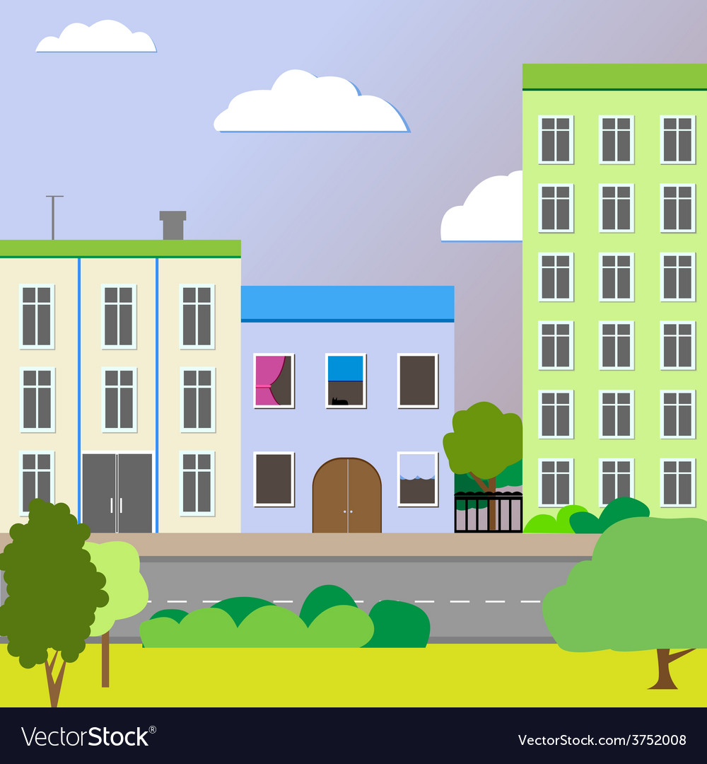 Sleek design a city street vector | Price: 1 Credit (USD $1)