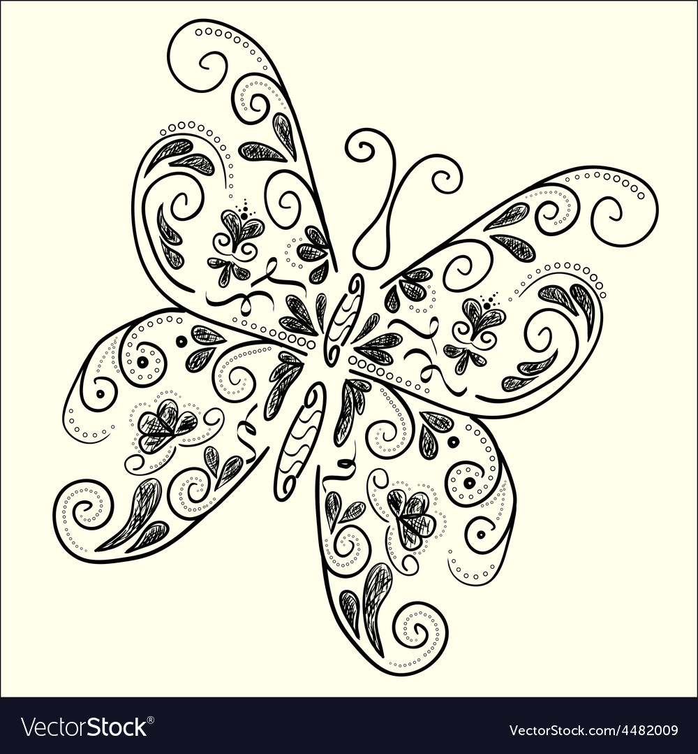 Butterfly black white vector | Price: 1 Credit (USD $1)