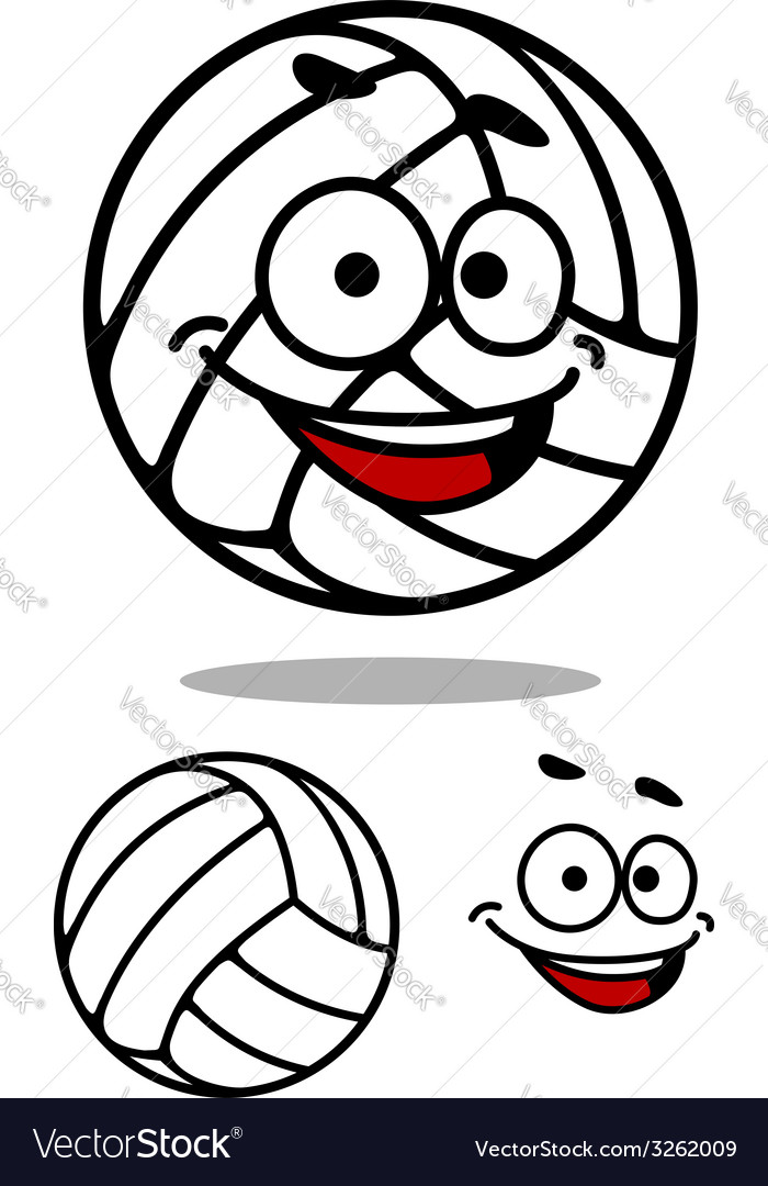 Cartoon cute volleyball ball vector | Price: 1 Credit (USD $1)