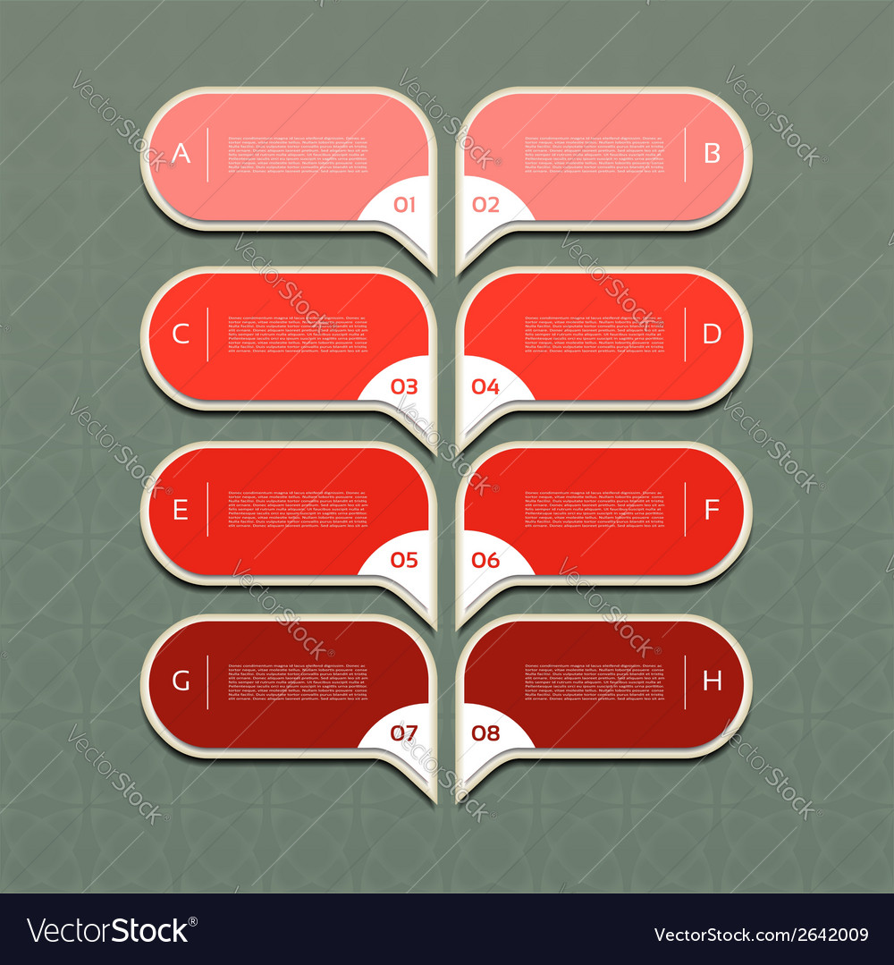 Charts with eight steps in red vector | Price: 1 Credit (USD $1)
