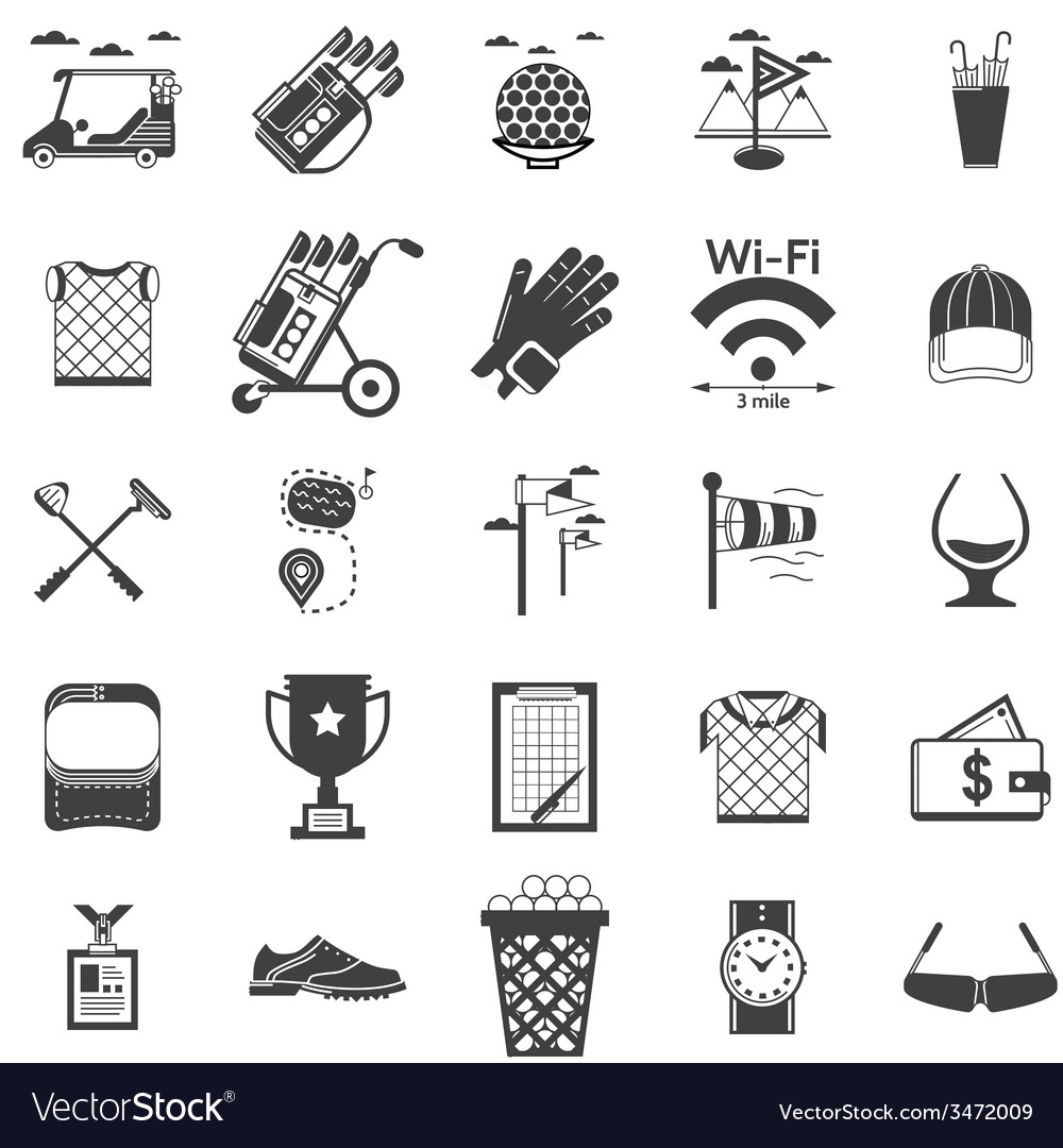 Collection of black icons for golf vector | Price: 1 Credit (USD $1)