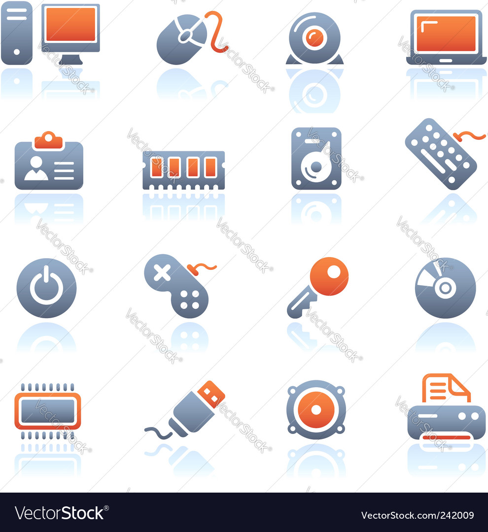 Computer and devices icons vector