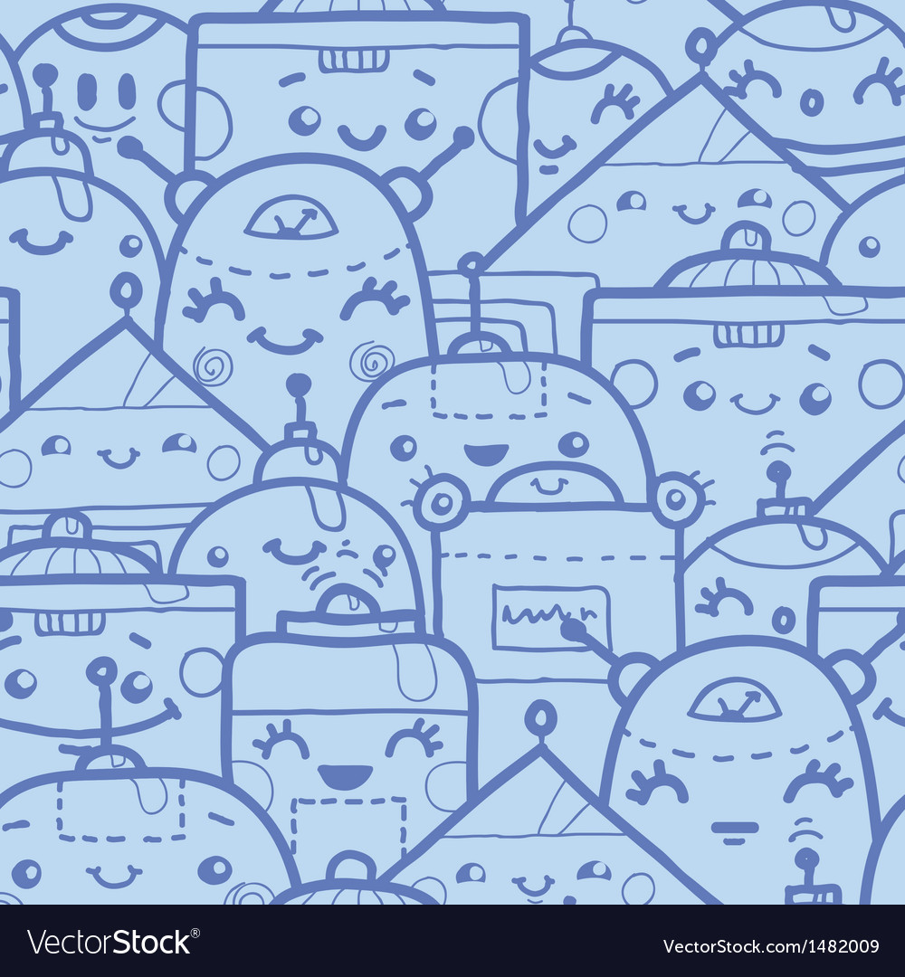Cute doodle robots seamless pattern background vector | Price: 1 Credit (USD $1)