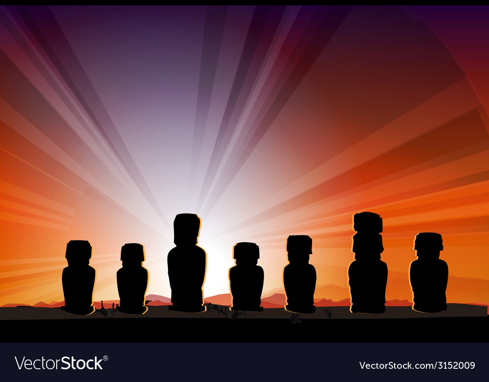 Easter island monument statues moai vector