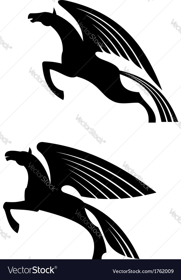 Fantasy winged horses vector | Price: 1 Credit (USD $1)