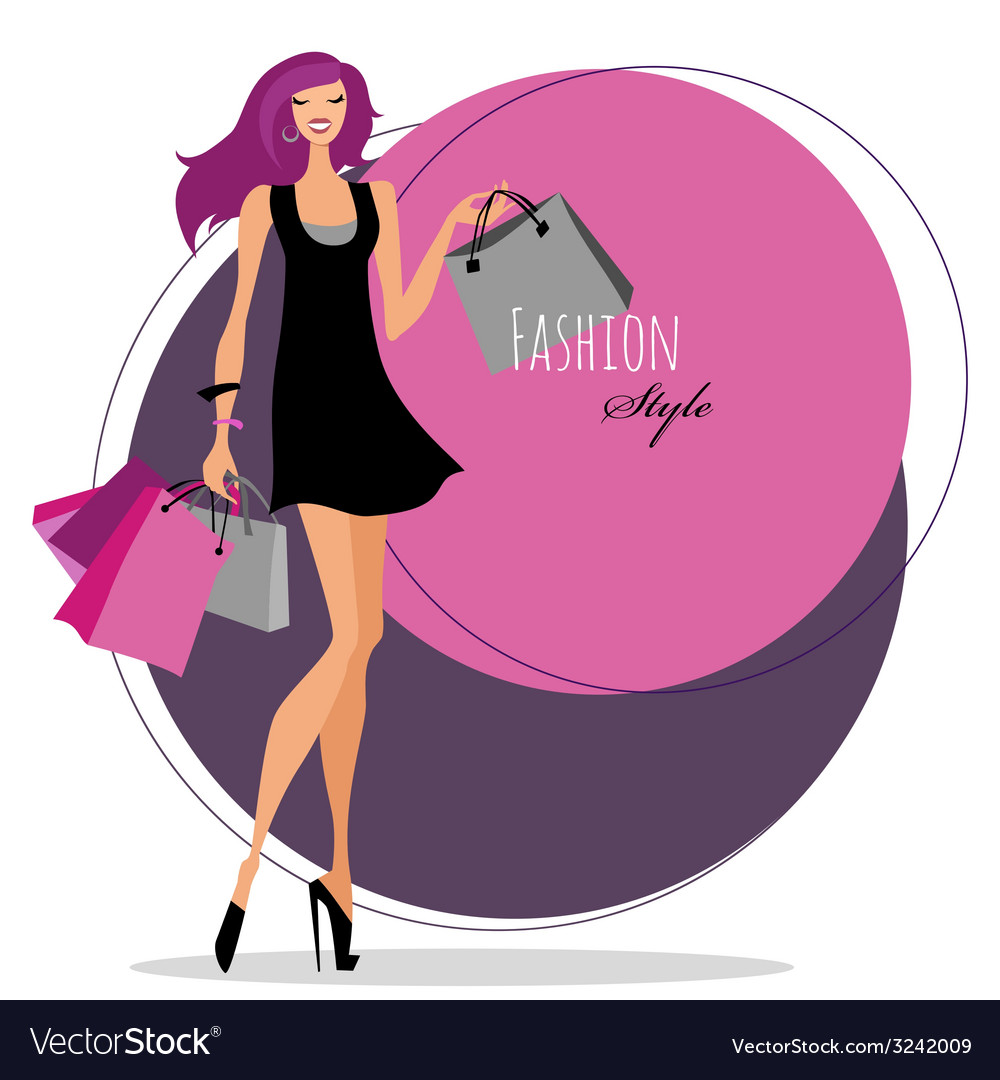 Fashion girl woman with shopping bags vector | Price: 1 Credit (USD $1)