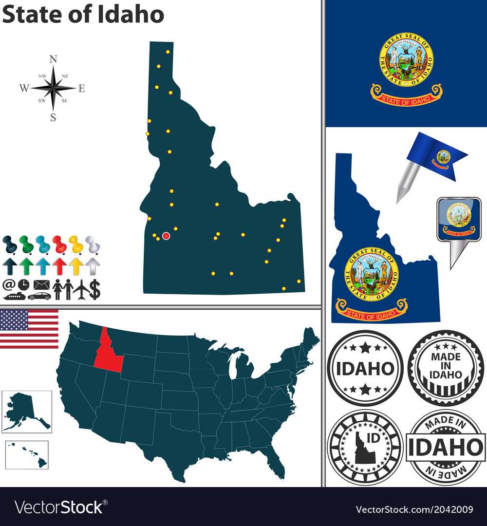 Map of idaho vector | Price: 1 Credit (USD $1)