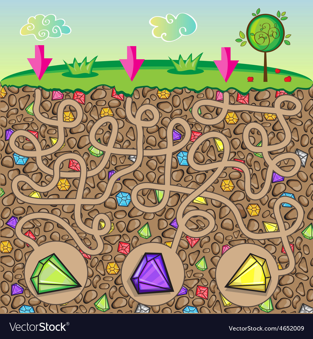 Maze for children - nature stones and precious vector | Price: 1 Credit (USD $1)