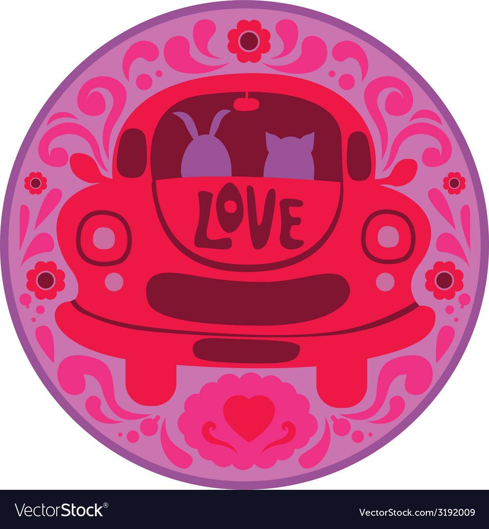 Valentine print with retro car vector | Price: 1 Credit (USD $1)