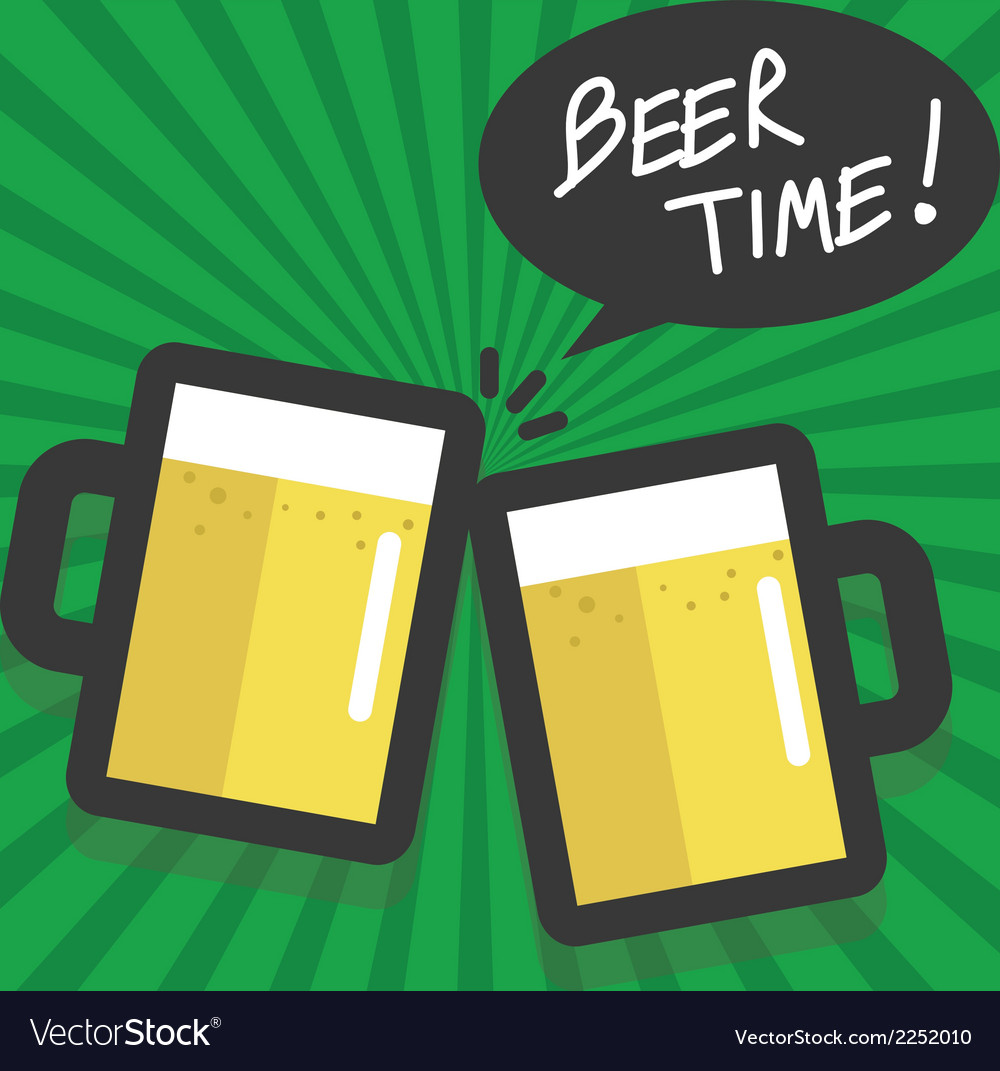 Beer time flat design vector | Price: 1 Credit (USD $1)
