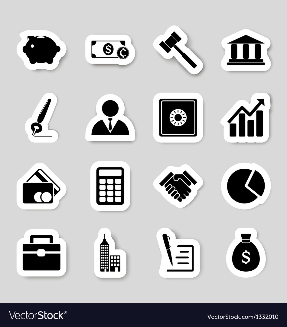 Business icons stikers vector | Price: 1 Credit (USD $1)
