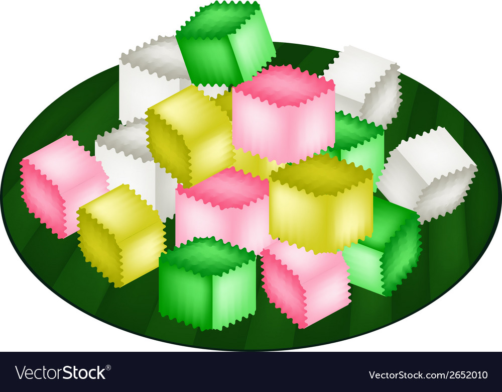 Colorful thai crispy jelly on banana leaf vector | Price: 1 Credit (USD $1)