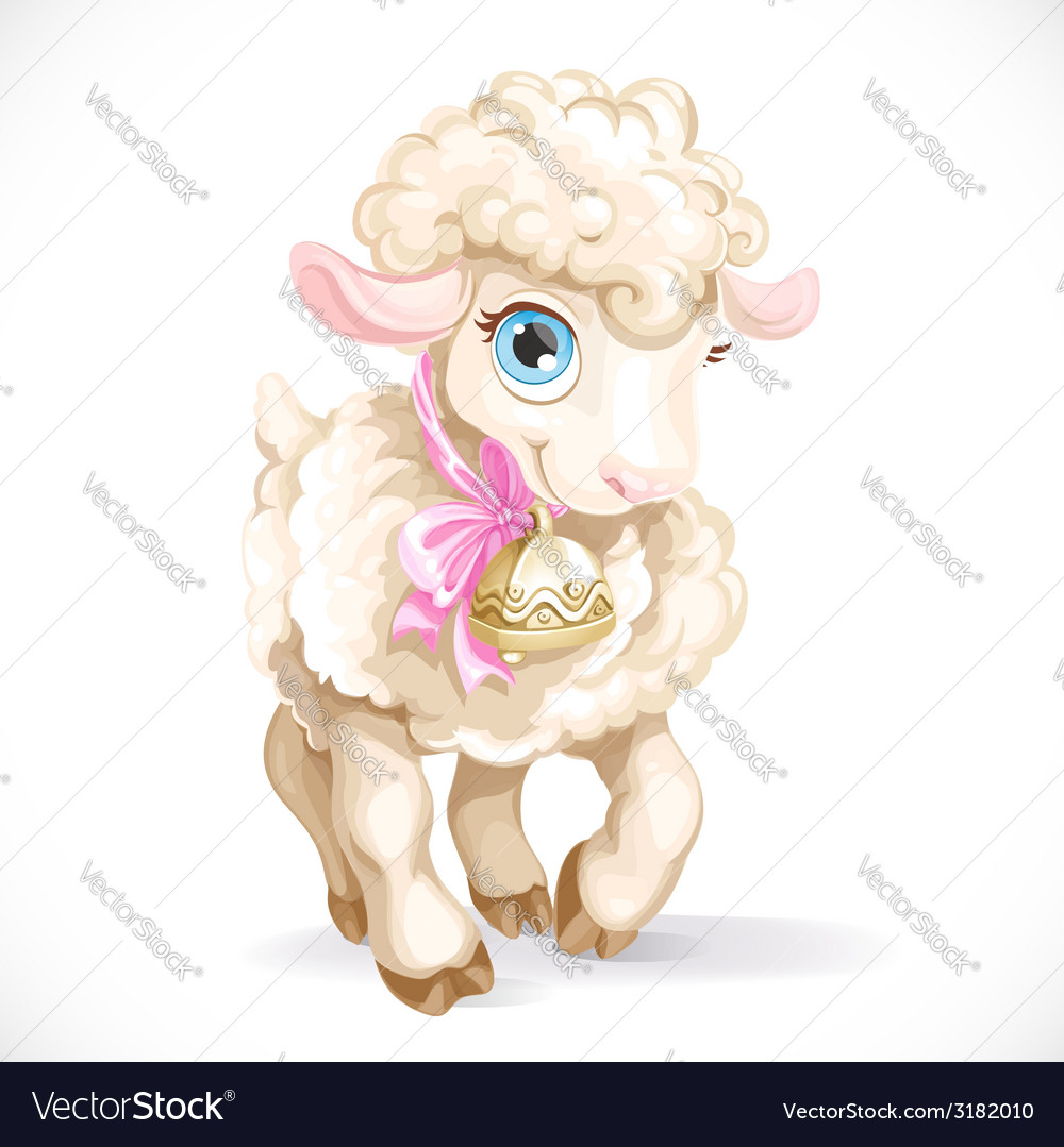Cute little sheep isolated on a white background vector | Price: 3 Credit (USD $3)