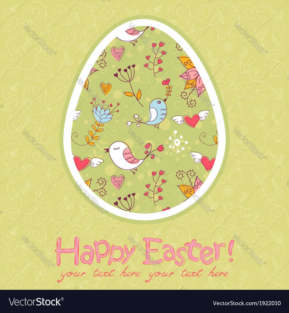 Easter egg cute floral card vector | Price: 1 Credit (USD $1)
