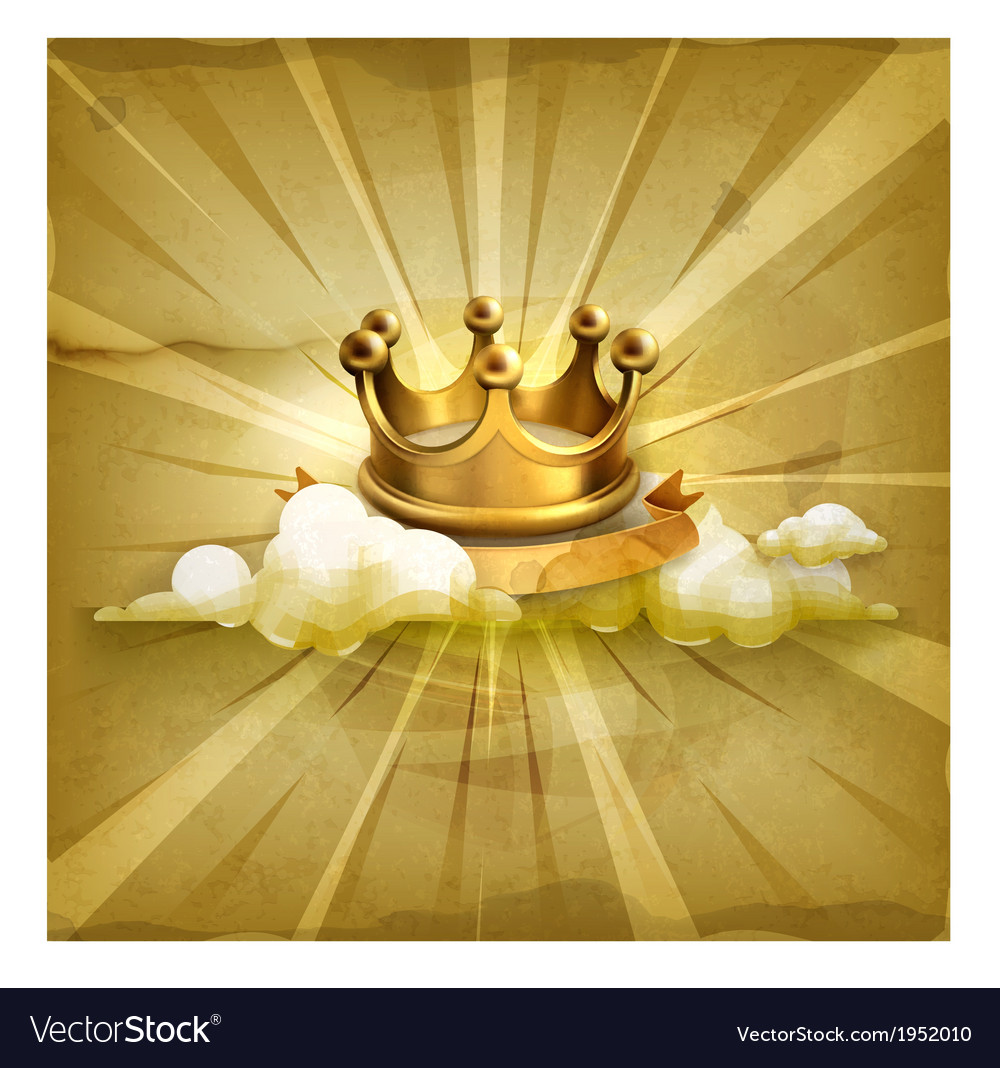 Gold crown old style background vector | Price: 1 Credit (USD $1)