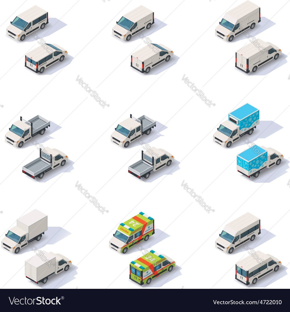 Isometric vans set vector | Price: 1 Credit (USD $1)