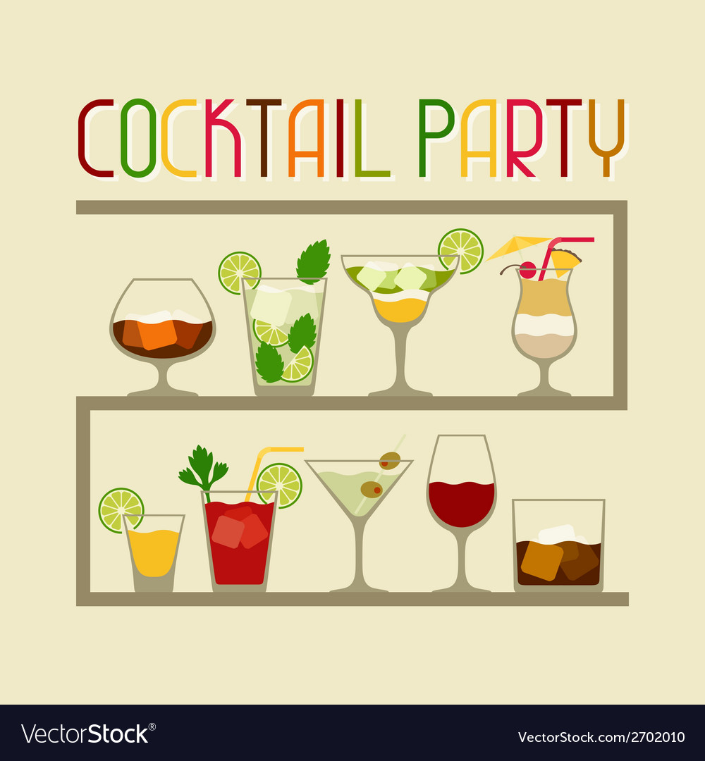 Party invitation with alcohol drinks and cocktails vector   Price: 1 Credit (USD $1)
